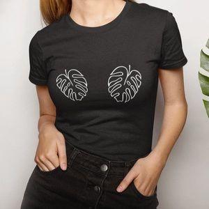 Monstera Plant Leaf Boobies Black Cotton T-Shirt